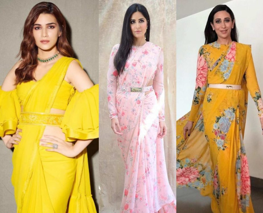 actress in saree with belt