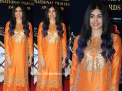 adah sharma in orange palazzo suit at dadasaheb phalke awards