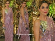 amrita arora in pink manish malhotra sequin saree at armaan jain wedding reception
