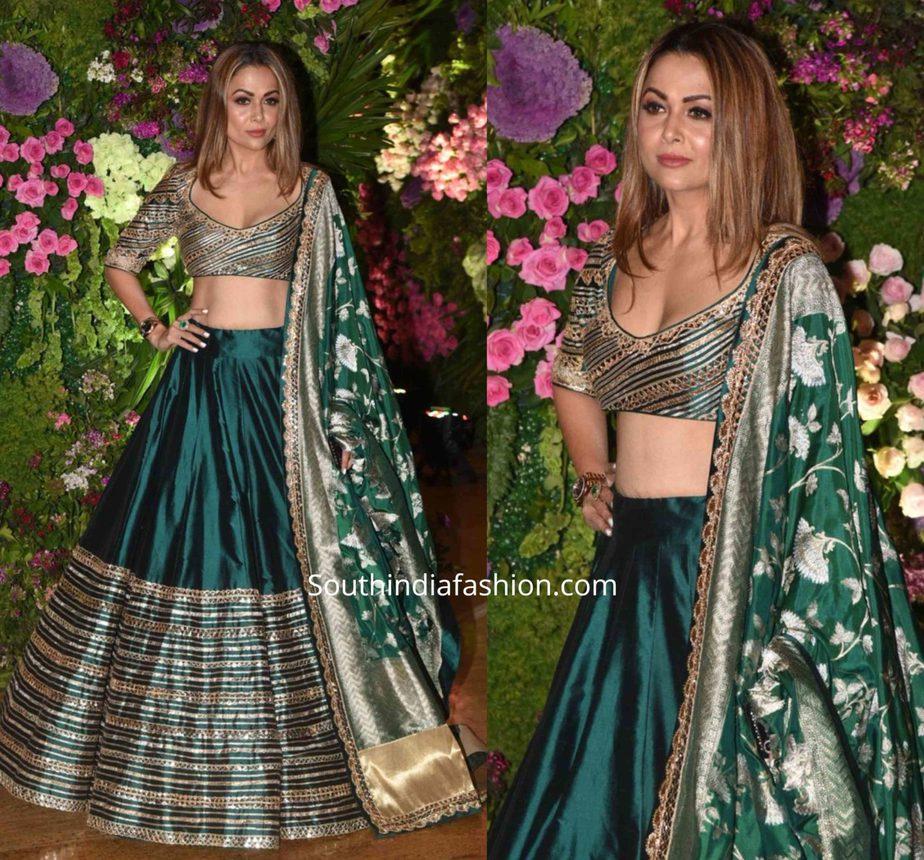 amrita arora in green lehenga at armaan jain wedding reception (3)