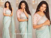 athulya ravi in blue organza saree