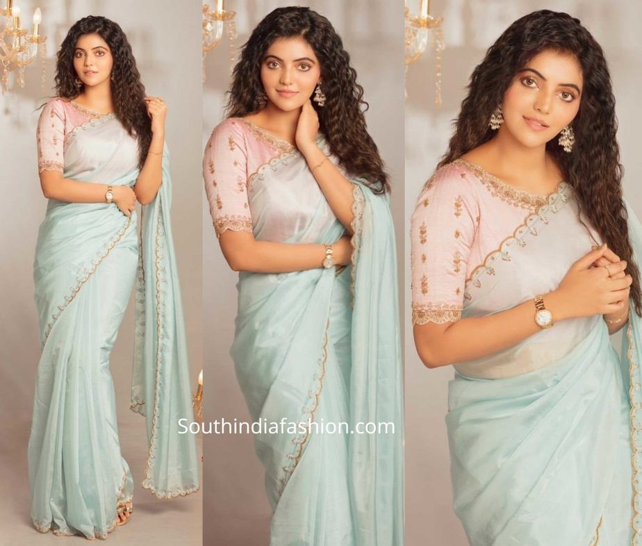 athulya ravi in blue organza saree