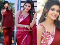 athulya ravi in maroon saree with 3d floral blouse