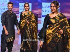 bipasha basu and karan singh in sanjukta dutta black outfits at lakme fashion week 2020