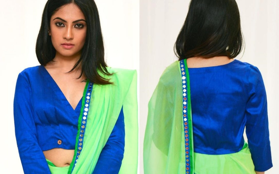 Raw silk crossover top in Royal blue