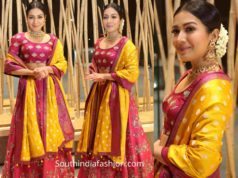 catherine tresa in pink lehenga at world famous lover pre release event