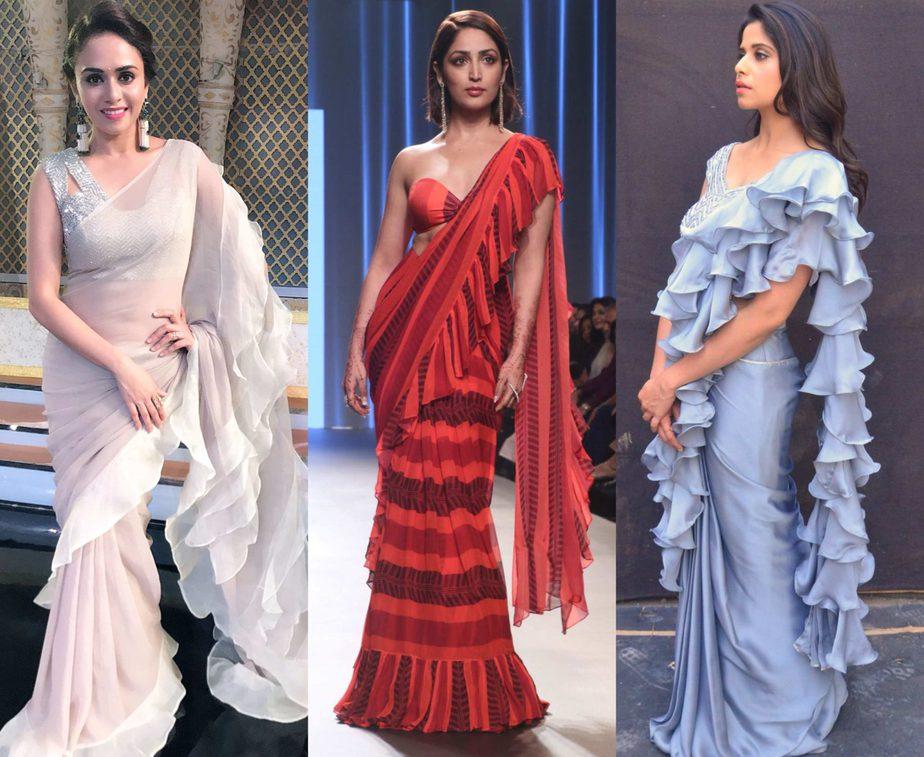 celebrities in ruffle saree