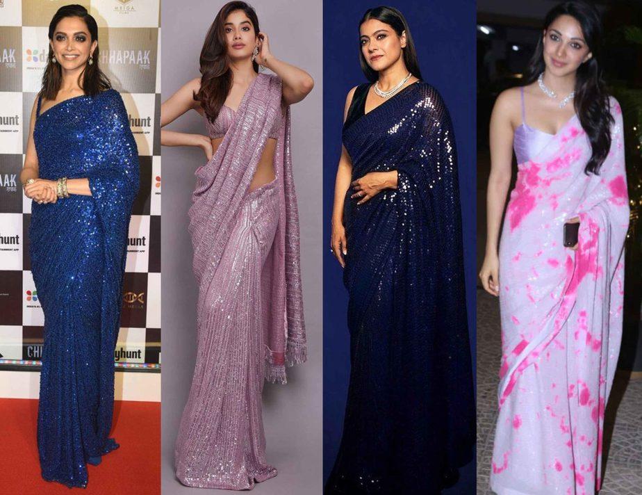 celebrities in sequin saree