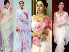 celebs in picchika organza sarees and lehengas