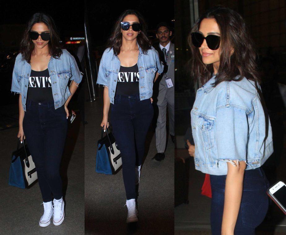 deepika padukone airport look jeans and cropped denim jacket
