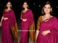 dia mirza in pink silk saree at thappad screening