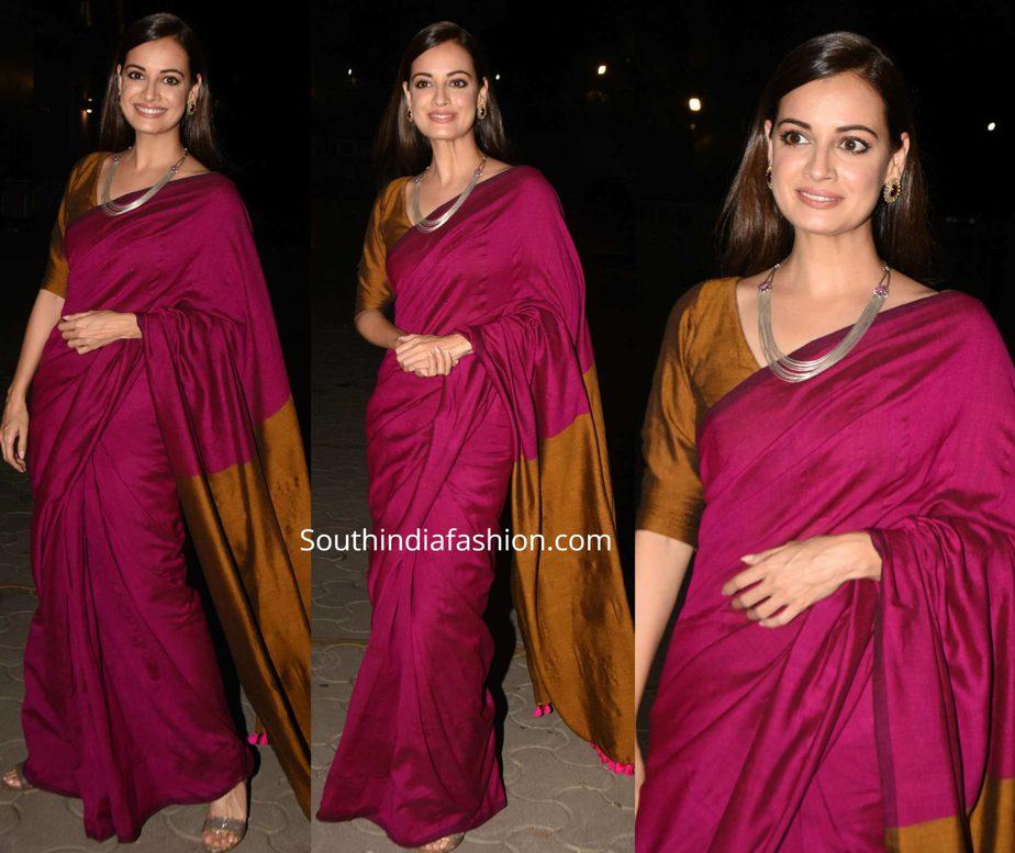 dia mirza in pink silk saree at thappad screening