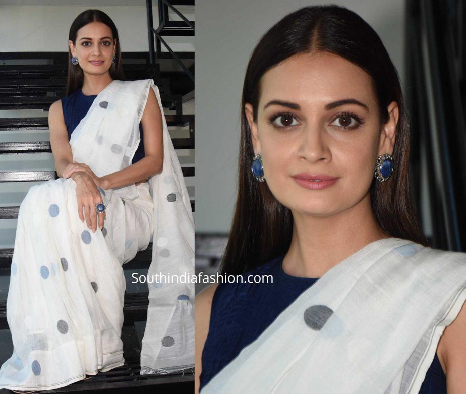 dia mirza in white saree at thappad promotions, polka dot saree