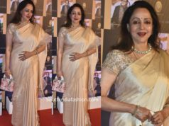 hemamalini in gold ruffle saree