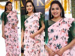 himaja in floral ruffle saree