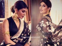 jacqueline fernandez in black silk saree (1)
