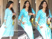janhvi kapoor in blue and white printed kurta set