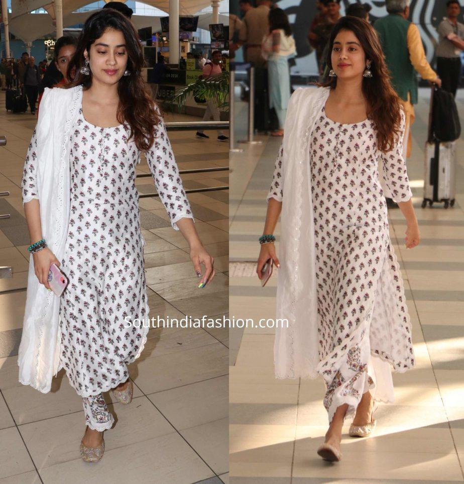 janhvi kapoor in white printed palazzo suit at airport