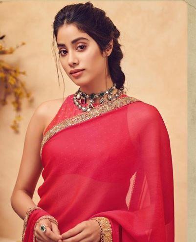 janhvi kapoor pink saree halter blouse
