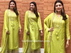 kajal aggarwal green palazzo suit shivarathri