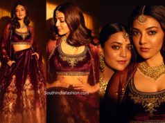 kajal aggarwal in anita dongre lehenga at her friend wedding (1)