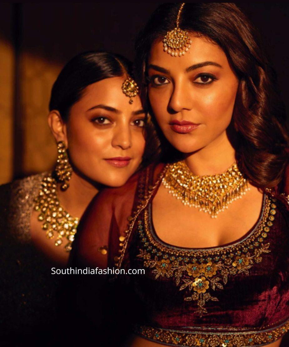 kajal aggarwal in anita dongre lehenga at her friend wedding (1)