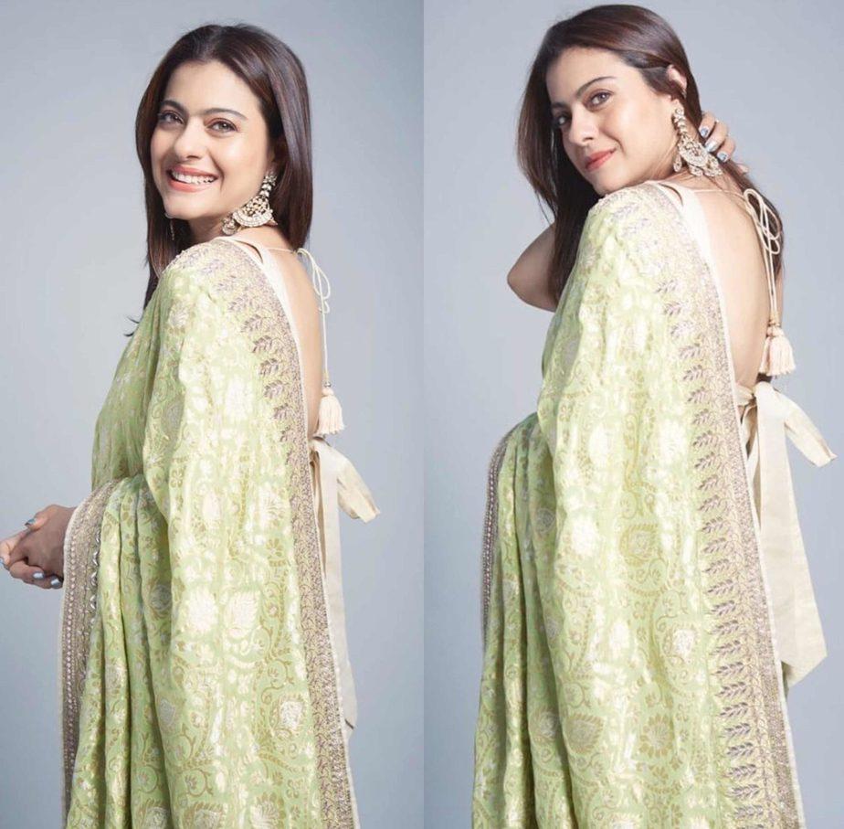 kajol in green anita dongre saree (2)