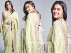kajol in green anita dongre saree (2)