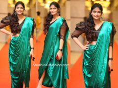 kalpika ganesh in green pre stitched saree at hit pre rekease event