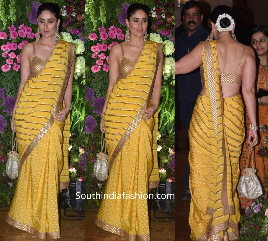kareena kapoor in yellow saree at armaan jain wedding (1)