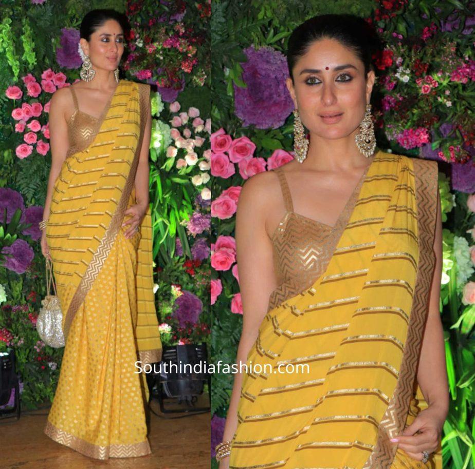 kareena kapoor in yellow saree at armaan jain wedding (2)
