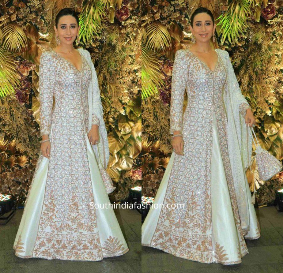 karisma kapoor in manish malhotra white anarkali at armaan jain wedding reception (1)