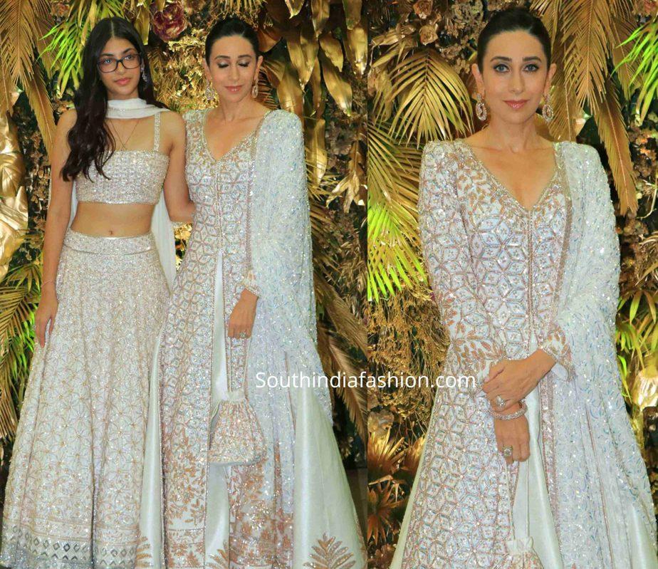 karisma kapoor in manish malhotra white anarkali at armaan jain wedding reception (2)