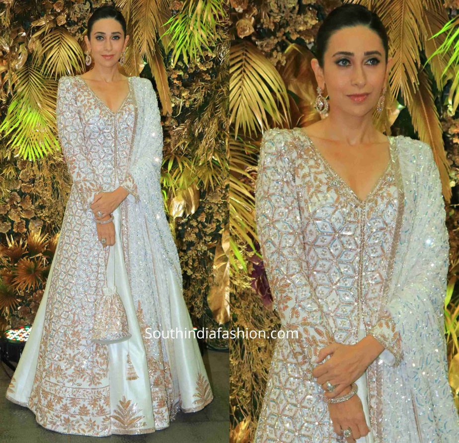 karisma kapoor in manish malhotra white anarkali at armaan jain wedding reception