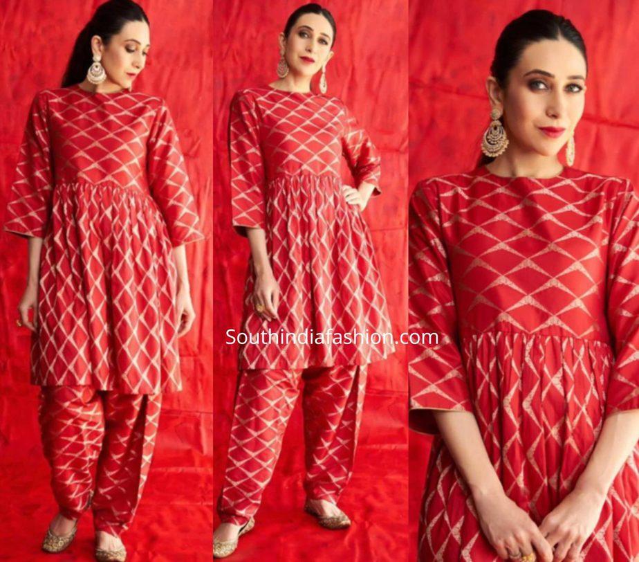 karisma kapoor in red kurta set at her cousin armaan jain sangeet ceremony