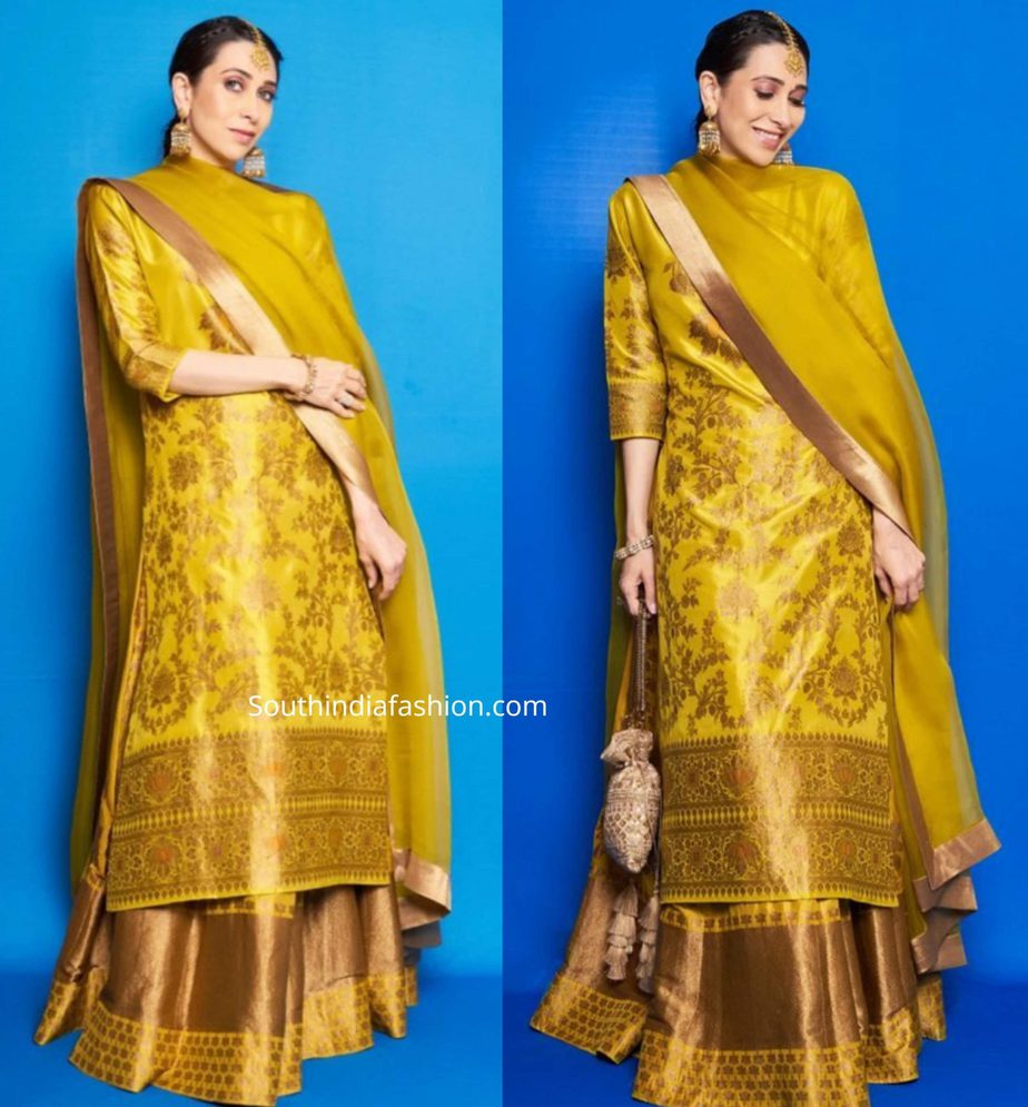 karisma kapoor in yellow kurta lehenga at armaan jain mehendi function