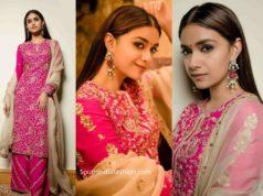 keerthy suresh in pink palazzo suit (2)