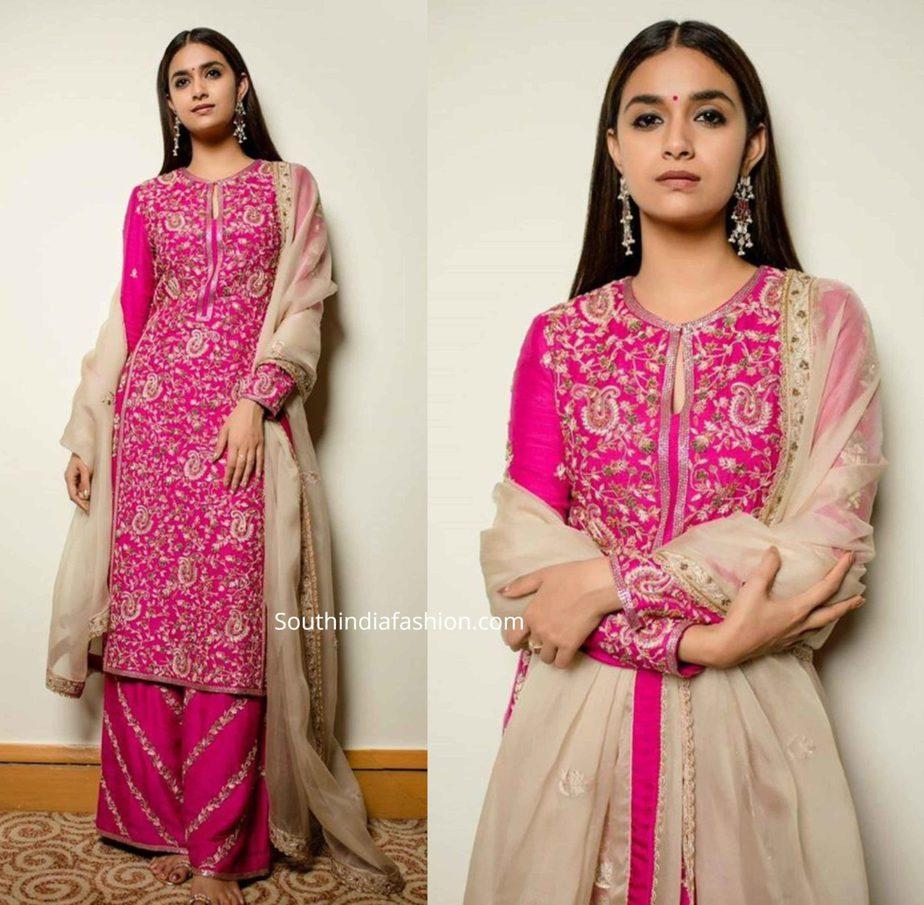 keerthy suresh in pink palazzo suit