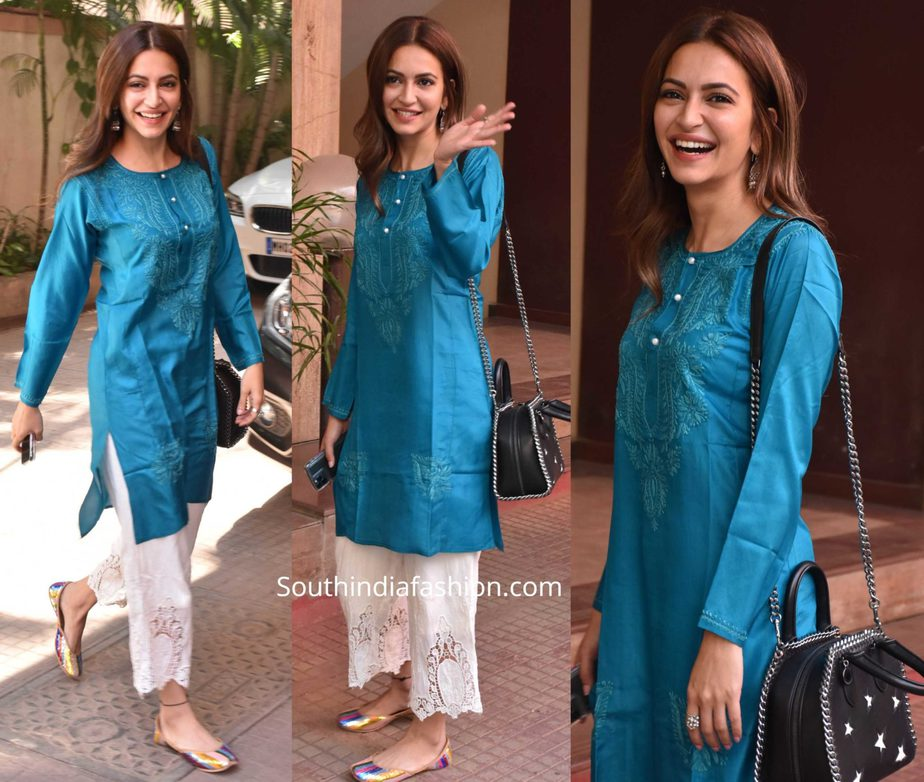 kriti kharbnda blue kurta with white palazzos