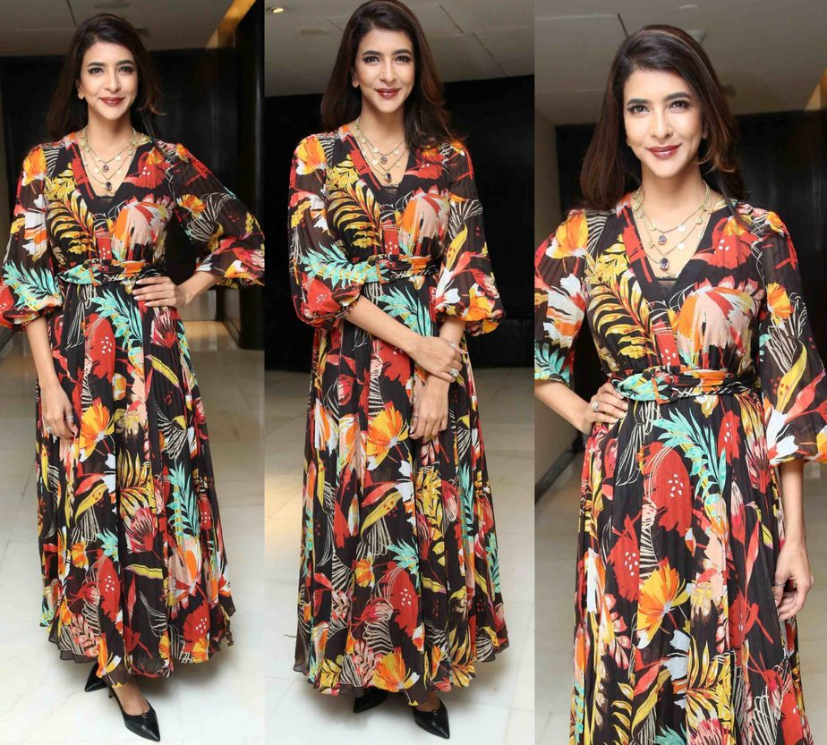 lakshmi manchu in a printed maxi dress