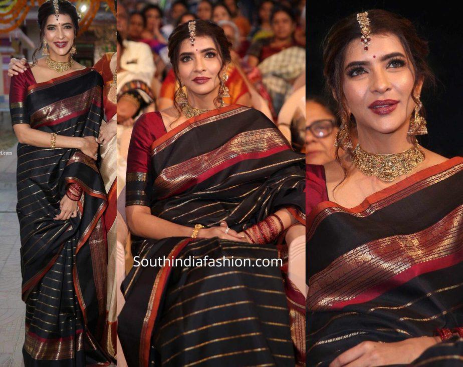 lakshmi manchu in black silk saree at gudi sambaralu (1)
