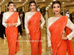 lakshmi manchu in coral color sequin saree at manish malhotra show blenders pride fashion