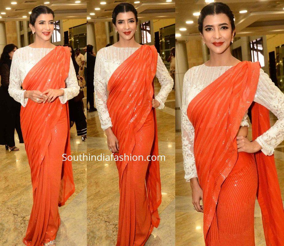 lakshmi manchu in coral color sequin saree at manish malhotra show blenders pride fashion