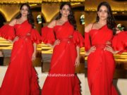 lavanya tripathi in red saree with ruffle blouse (2)