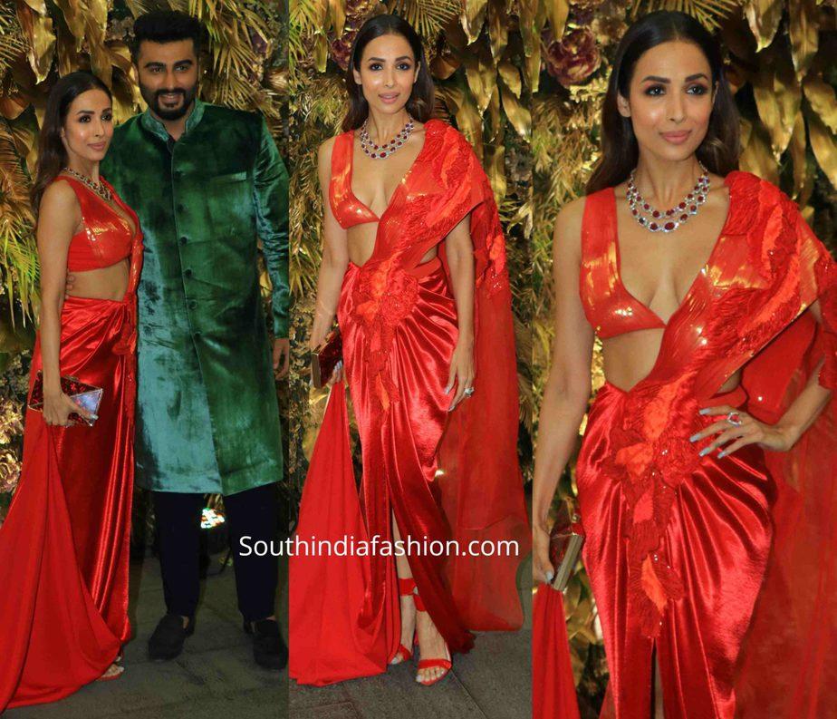 malaika arora in red dress at armaan jain wedding
