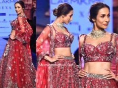 malaika arora in varun chakkilam lehenga at lakme fashion week 2020 (2)