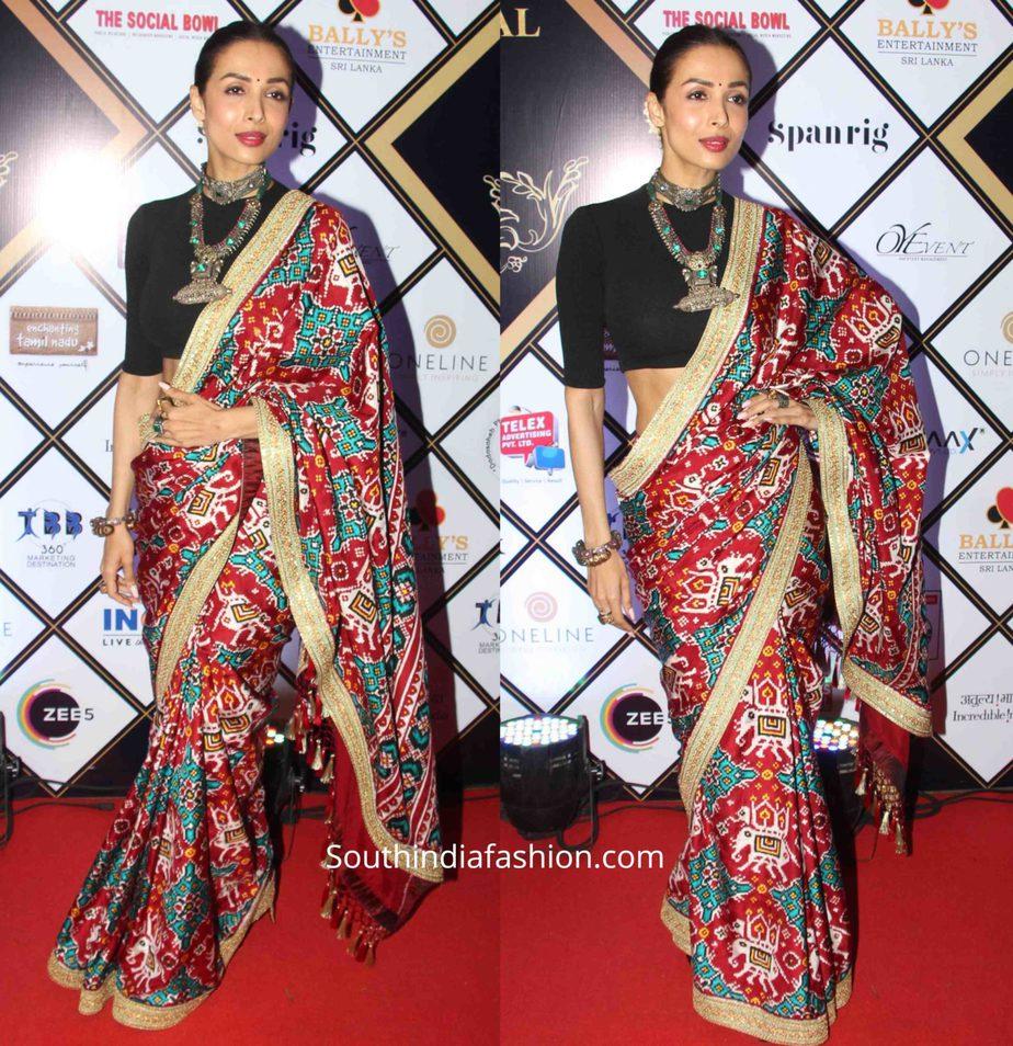 malaika arora khan in ikat saree at dadasaheb phalke awards , patola saree