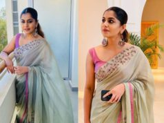 meera nandan in grey saree at her friend wedding