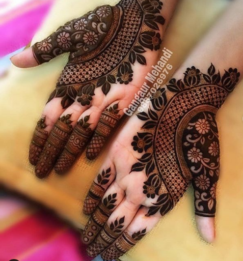 one side mehndi designs for palms