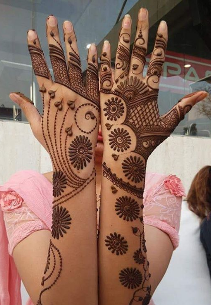 simple henna design for back hands